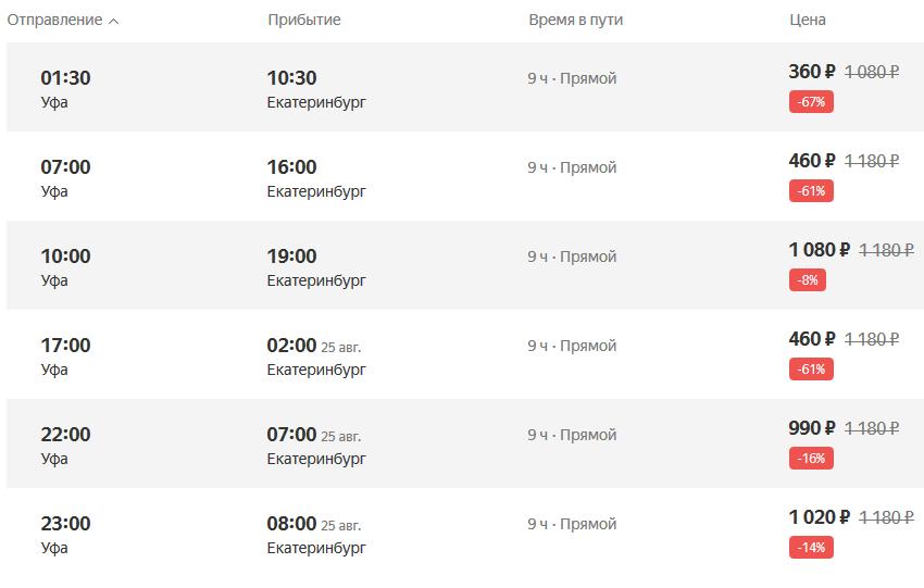 Яндекс автобусы Уфа - Екатеринбург